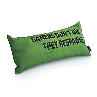 Game Over Gamers Don't Die, They Respawn! Slogan - Verde | Almofada para Jogos | Migalha de espuma enchida | Resistente à água | Roupa de cama e sofá | Decoração de Casa