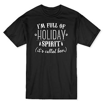 """I'm Full Of Holiday Spirit (It's Called Beer)"" Funny Quote Men's T-shirt"