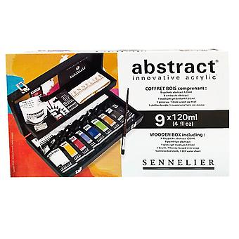 Sennelier Abstract Acrylic Painting Wooden Box Set 9 x 120ml Colours & Accessories