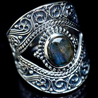 Large Labradorite Ring Size 9.25 (925 Sterling Silver)  - Handmade Boho Vintage Jewelry RING5914