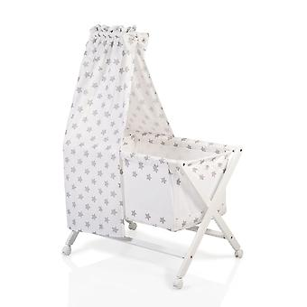 Cangaroo Baby Cradle Cassy Beech, Wheels, Duvet Cover, Pillow Cover, Sky, Mattress