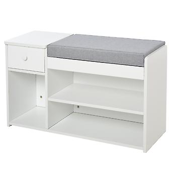 HOMCOM Multi-Storage Shoe Bench w/ Drawer 3 Compartments Cushion Home Organisation Furniture Tidy Boots Hallway White