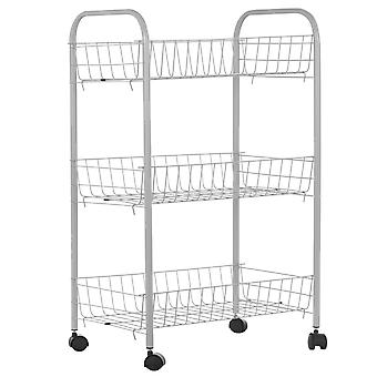 Stanford Home 3 Tier Storage Cart Deep Shelves 4 Wheels 2 Top Handles