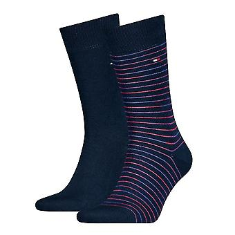 Tommy Hilfiger 2 Pack Small Stripe Socks - Navy/Red