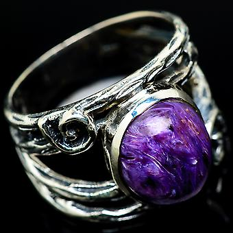 Charoite Ring Size 8 (925 Sterling Silver)  - Handmade Boho Vintage Jewelry RING17376