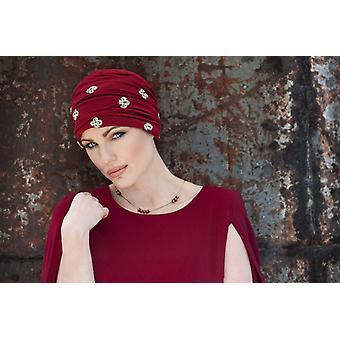 Joia Chapéu de Flor Dourada Vermelha