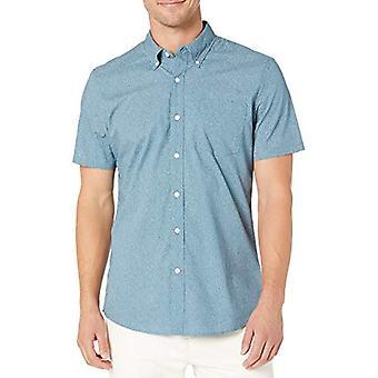Brand - Goodthreads Men's Camicia poplina a maniche corte, Denim Blu...