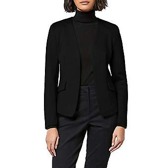 MERAKI Women's Collarless Stretch Jersey Comfort Blazer, Musta, EU L (US 10)