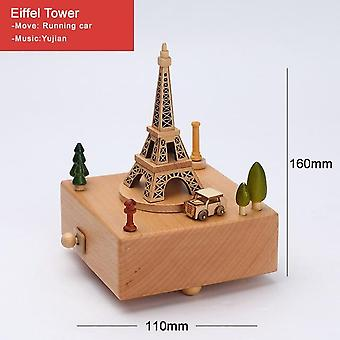 Stylish Engraved Musical Wooden Boxes Clockwork Craft For Birthday Gift Home Decoration