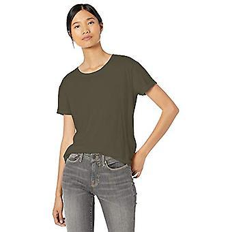 Brand - Goodthreads Women's Washed Jersey Cotton Roll-Sleeve Open Crewneck T-Shirt, Dark Green, Medium