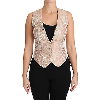 Dolce & Gabbana Silke Rosa Jaquard Floral Print Topp Bluse Vest TSH3001-40