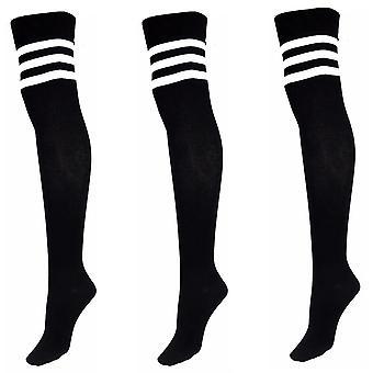 Womens Dickstreifen Fußball über das Knie hohe Mädchen Socken 4-6 UK