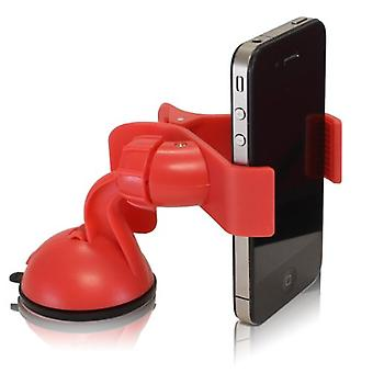 Furinno IP11-PI Easy Mount Suction Universal Car Phone  Mount Holder, Red