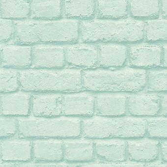 Rasch 3D Effect Brick Stone Wallpaper Turquoise Silver Metallic Paste Wall