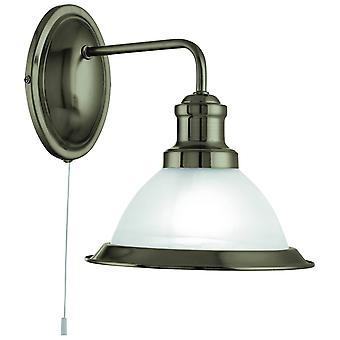 1 Licht wandlicht antiek messing met zure glazen schaduw, E27