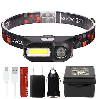 Mini Cob Led Headlight Headlamp Flashlight Usb-rechargeable 18650, Torch Night