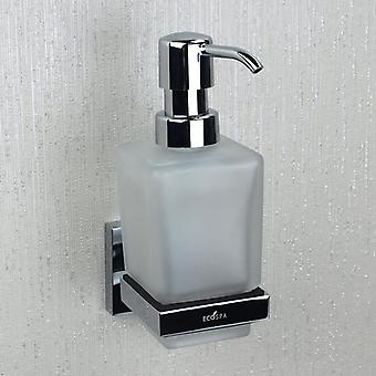 ECOSPA Wall Mounted Frosted Glass Soap Dispenser with Pump Action and Chrome Holder