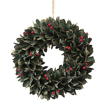 30cm Green Leaf and Red Berries Wooden Wreath in a box Christmas Home Decoration