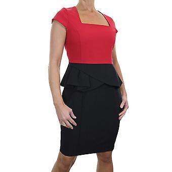 Women's Smart Peplum Pencil Dress Ladies Evening Elegant Above Knee Soft Washable Bodcon Dress Black Red 10-12