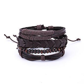 1 Set Adjustable Multilayer Men's Bracelets Retro Punk Wood Beads Brown Leather