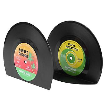 Creative Vinyl Record Shaped Book Shelves Holders School/office,  (black)