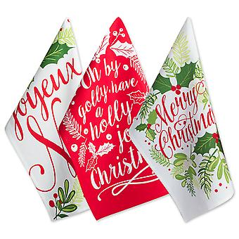 Dii Assorted Red/Green Boughs Of Holly Printed Dishtowel (Set Of 3)