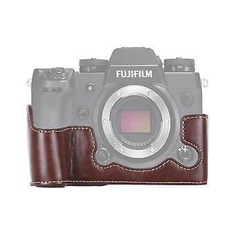 1/4 cala Gwint PU Skórzana kamera Pół obudowa podstawa do FUJIFILM X-H1 (Kawa)