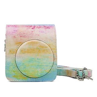 Rainbow Malarstwo olejne Wzór PU Skórzana torba na aparat ochronny do kamery FUJIFILM Instax Mini70