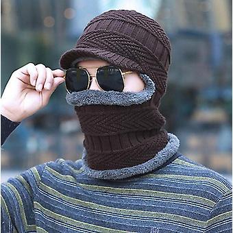 Sombrero de invierno y bufanda set hombre anillo bufandas gorra.