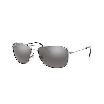 راي بان RB3543 003/5J الفضة / نظارات مرآة رمادية فضية مستقطبة