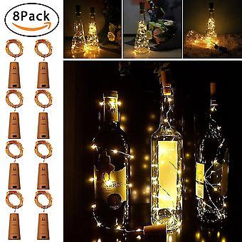 Led Butelka Korka Światła Omew Wine Bottle Lights 2m/20leds Copper Wire String Lights For Bottle Diy Parties Wedding Holiday Decor 8 Packs 2m