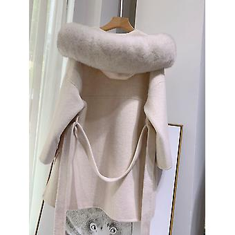 Real Cashmere Wool Coat With Real Fox Fur Hooded Coats