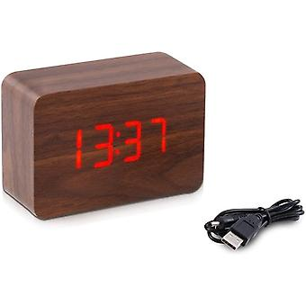kwmobile Wooden Digital Alarm Clock - Activated By Touch or Sound