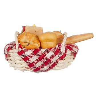 Dolls House Basket Of Fresh Bread 1:12 Miniature Kitchen Bakers Shop Accessoryd