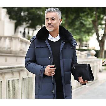جديد سترة الشتاء الرجال & apos;ق المعاطف الملابس الخارجية الذكور فو الفراء طوق عارضة طويلة أسفل