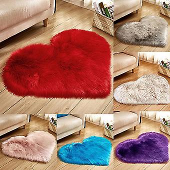 Shaggy Carpet Love Heart Rugs Artificial Wool Sheepskin Hairy Mat Faux Fluffy