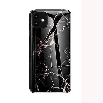 Marmor stødsikker hærdet glas sag til Apple iPhone 6 / 6S - Sort og guld