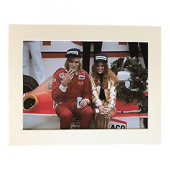 Larrini James Hunt And Girl After The Race A4 Mounted Photo