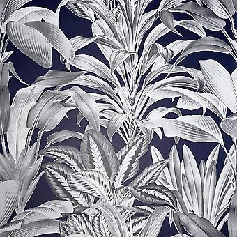 Greenhouse Plants Navy Wallpaper