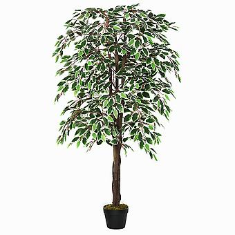 Outsunny 160cm/5.2FT Artificial Ficus Silk Tree with Nursery Pot, Decorative Fake Plant, for Indoor Outdoor Décor