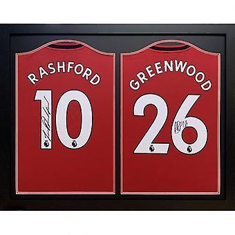 Camisetas firmadas por El Manchester United Rashford & Greenwood (Doble Enmarcado)