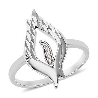 Lucy Q Zircon Flame Ring voor vrouwen in zilveren designer cadeau voor vriend, 0.04ct