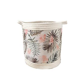 Printed cotton rope splicing storage basket with handle