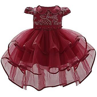 Baby Girl formálne krst princezná šaty 1130-červená