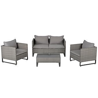 Outsunny 4 PCs PE Rattan Wicker Outdoor Dining Set w/ Sofa Chairs Glass Top Table Cushions Patio Garden Conservatory Furniture
