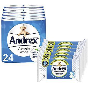 Andrex Toilet Paper Classic Blanco, 24 Rolls & Andrex Washlets Classic White, 6pk