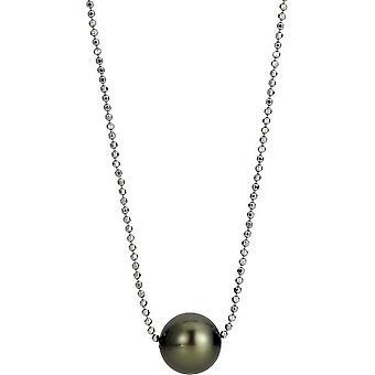 Adriana Pearl Naszyjnik Tahiti czarny 8-10 mm fasetowany łańcuch kulowy srebrny 50 cm I13