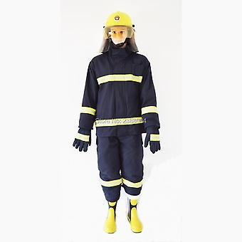 Firefighter Protect Anti Flame Heat Resistant Fire Suit With Helmet, Gloves &