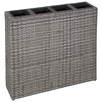 Garden Raised Bed With 4 Pots Poly Rattan Grey