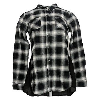 Belle par Kim Gravel Women's Top (XXS) Plaid Woven Shirt Black A305321